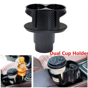 Car Center Console Dual Cup Holder 2 In 1 Extender Drink Can Bottle Stand