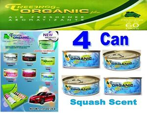 4 Can Treefrog Organic Air Freshener For Car Home Auto Office Squash Scent