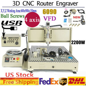 4 Axis 6090 Cnc Router Engraver Set 2200w Woodwork Drilling Milling Machine Usb