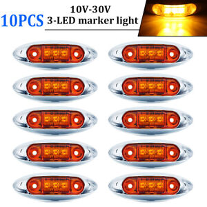 10x Amber 3 Led 4 Side Marker Lights Truck Trailer Clearance Light Waterproof