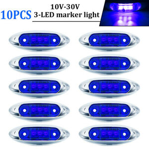 10pcs Blue 3 Led 4 Side Marker Lights Truck Trailer Clearance Light Waterproof