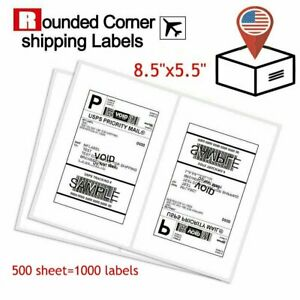 1000 Premium 8 5 X 5 5 Half Sheet Self Adhesive Shipping Labels 2 Per Sheet