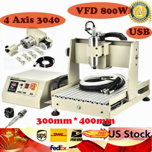 Usb 4 Axis 3040 Cnc Router Engraver Milling Machine 800w Vfd With Water cooling