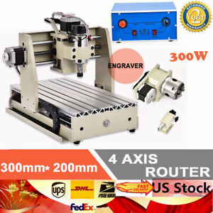 Desktop 4 Axis Cnc 3020 Router Engraver 300w 3d Cutting Drilling Milling Machine