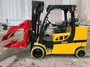 12 000 Pound Yale Roll Clamp Truck Model Glc120vxprs W 60 Bolzoni Clamp Mfg 2
