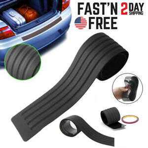 Black Car Rear Bumper Rubber Pad Kit Guard Sill Plate Trunk Protector Trim Cover