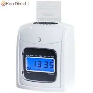 Electronic Employees Time Date Recorder Punch Card Machine W backlit Lcd Display