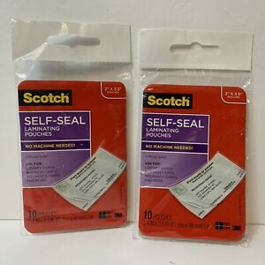 Scotch Self sealing Laminating Pouches Business Card Size 2x3 5 Two Packs