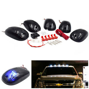 5pcs Cab Marker Lights Roof Running Top Lamp 9 Blue Led Bulbs Fit For Ford 99 16