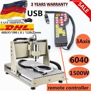 Usb 3 Axis Cnc 6040 Router Engraver Machine 1500w Woodworking Mill Drill Cutter