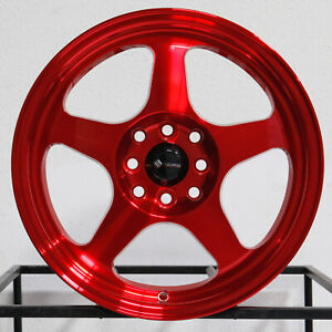 4 new 15 Vors Sp1 Wheels 15x8 4x100 4x114 3 20 Candy Red Rims 73 1
