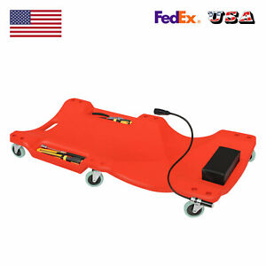 Under Car Mechanic Creeper Trolley Shop Board Headrest Trays Roller Led Light