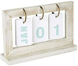 Perpetual Wooden Desk Calendar 5 X 8 Whitewashed Wood January To December