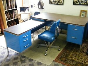 Vintage Designcraft Mid Century Sectional Formica Top Metal Office Desk W chair