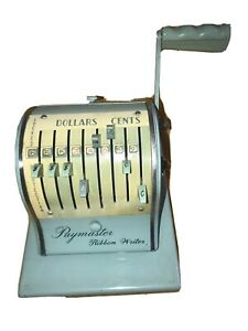 Vintage Paymaster 8000 Check Writer With Key Works Turqoise Vg E