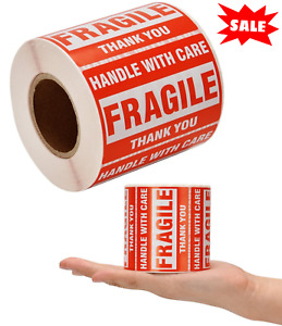 1 Roll 500 Fragile Shipping Label Stickers 2x3 Handle With Care Caution Warning