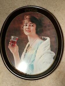 1973 Drink Coca Cola 1923 Advertisement Lady Metal Serving Tray. 15 x 12