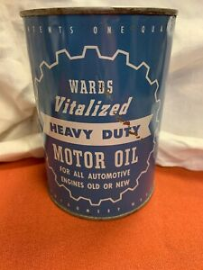 Vintage Vitalized Heavy Duty Motor Oil Montgomery Wards Gas Station 1 QUART Can