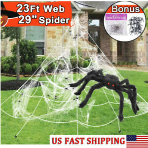 23ft Halloween Giant Spider Web Set For Outdoor Large Big Decorations Party Yard