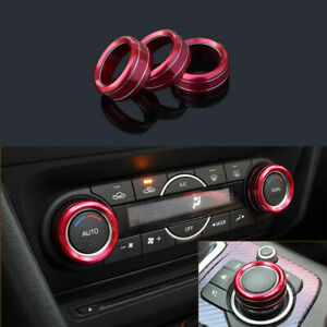 3x Car Red Air Conditioning Button Trim Ring For Mazda 3 Axela 2017 Accessories