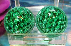two Antique Vintage 1920 s Bubble Glass Reflectors Green Hot Rod Motorcycle