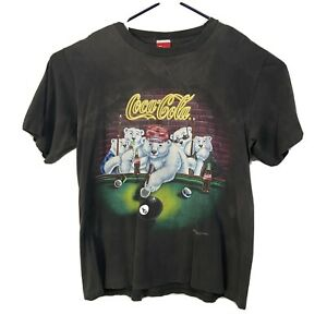 Vintage Coca Cola T Shirt Polar Bear Coke USA Single Stitch Tee Large Billiards