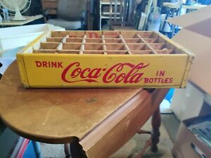vintage yellow coca cola wood crate 24 carrier 1960s ? Excellent condition