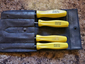 Snap On Asa204ay Yellow Hard Handle 4 Piece Pick Set With Holder Asa204ay