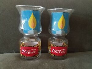 1970'S VINTAGE LIBBY COCA COLA LAMP SHAPED GLASS W/FLOATING CANDLE  Lot of 2