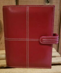 Franklin Covey Stitched Red Leather Personal Snap Latch Organizer 7 X 6 X 2