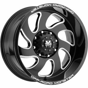4 New 20 Off Road Monster M07 Wheels 20x10 6x135 19 Black Milled Rims
