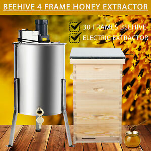 Complete Bee Hive 10 frame 2 Deep Box 1 Medium Box And 4 Frame Honey Extractor