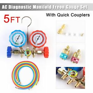Refrigeration R12 R22 R502 R134a Manifold Gauge Set 3ft Hose Quick Coupler Hvac
