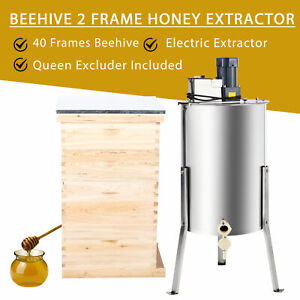 Complete Bee Hive 10 frame 2 Deep Box 2 Medium Box And 2 Frame Honey Extractor