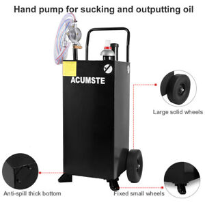 30 35 Gallon Gas Fuel Diesel Caddy Transfer Portable Tank Rotary Pump Container