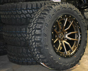 20x10 Fuel D681 Bronze Rebel Wheels 35 Mt Tires 8x170 Ford Super Duty Excursion