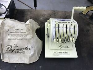 Vintage Paymaster Check Writer S 1000 Business Office Machine Usa With Key