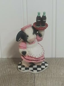 MARY MOO MOOS You're Worth Waiting For Coca-Cola Enesco Cow Waitress Figurine
