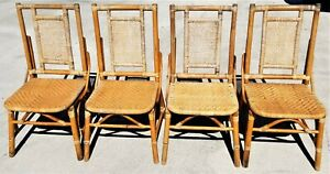 4 Vtg Mcm Boho Chic Pagota Asian Chinoiserie Bamboo Wicker Rattan Dining Chairs