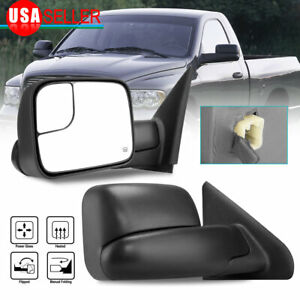 Pair Power Heated Tow Mirrors Flip up For 2002 08 Dodge Ram 1500 03 09 2500 3500
