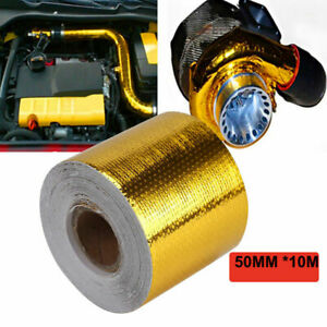 2 33ft Gold Intake Heat Reflective Tape Wrap Self Adhesive High Temperature