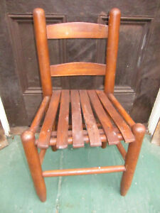 Antique Shaker Style Child S Ladder Back Slatted Seat Chair