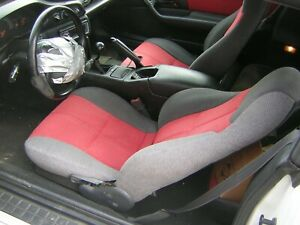93 95 Camaro Drivers Seat Upholstery Red Gray Tweed Style In Good Condition