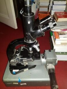 Old Leitz Gmbh Microscope Trinocular Binocular Base Not Include