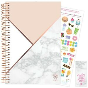2021 Color Blocking Marble Calendar Year Daily Planner Agenda 12 Month Jan Dec
