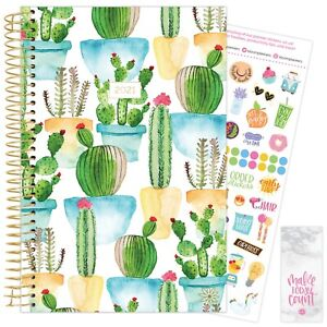 2021 White Cacti Calendar Year Daily Planner Agenda 12 Month January December