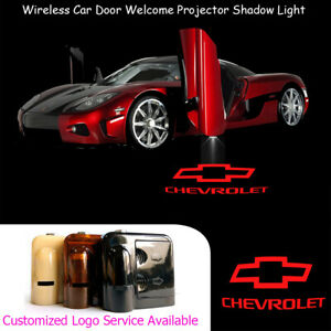 2x Red Chevrolet Logo Wireless Car Door Laser Projector Cree Led Shadow Lights