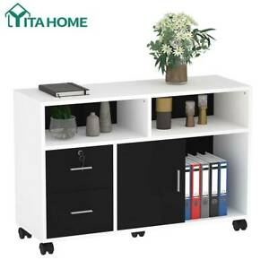 Yitahome 2 Drawer Wood File Cabinet Shelf Storage Organizer Home Office White