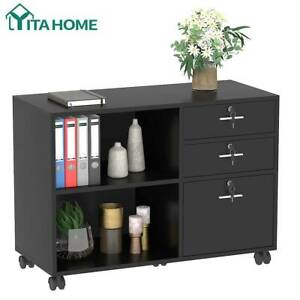 Yitahome Wood File Cabinet 3 Drawer Shelf Storage Home Office Organizer Black
