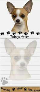 Lot Of 2 chihuahua Magnetic List Pads Uniquely Shaped Sticky Notepad